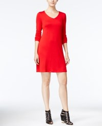 Kensie Long Sleeve T Shirt Dress Red