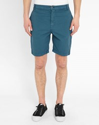 M.Studio Blue Paul Fitted Cotton Shorts