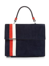 Tomasini Paris Striped Suede Tote Navy Multi