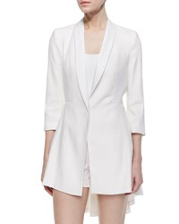 Alice Olivia Selene Ruffle Back Long Blazer White