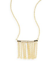 Elizabeth And James Ollie Black Spinel And White Topaz Chain Tassel Pendant Necklace Gold