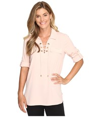 Calvin Klein Lace Up Roll Sleeve Blush Women's Blouse Pink