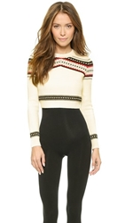 Torn By Ronny Kobo Zulma Cropped Fair Isle Sweater Ivory