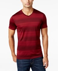 Alfani Slim V Neck Striped T Shirt Only At Macy's Clay Red Combo