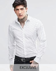 Noose And Monkey Shirt With All Over Skull Print White
