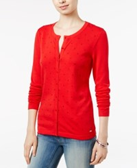 Tommy Hilfiger Kelly Dot Detail Cardigan Racing Red
