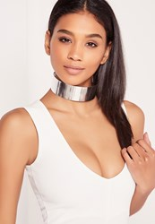 Missguided Metal Plate Choker Silver Grey