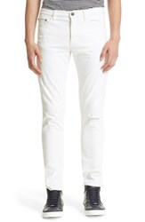 Men's The Kooples Distressed Skinny Jeans White