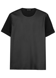 Neil Barrett Black Faux Leather And Jersey T Shirt