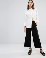 Selected Cropped Wide Leg Trouser Black