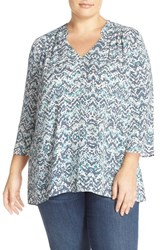 Sejour Plus Size Women's Print Split Neck Blouse Ivory Teal Geometic Print