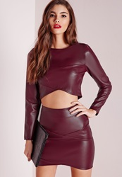 Missguided Wrap Over Faux Leather Crop Top Burgundy Burgundy
