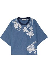3.1 Phillip Lim Silk Trimmed Embroidered Cotton Chambray Top Blue