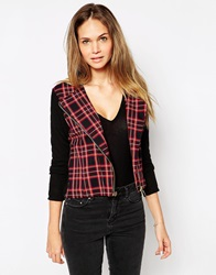 Wal G Biker Jacket In Check Red