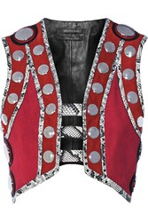 Roberto Cavalli Embellished Leather And Elaphe Trimmed Suede Vest Claret