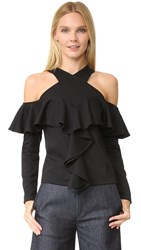 Rodebjer Tyrese Cold Shoulder Top Black