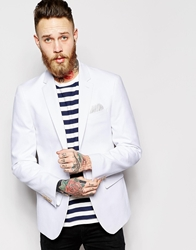 Asos Slim Fit Blazer In Cotton White