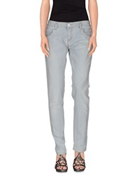 Pinko Grey Denim Denim Trousers Women Blue