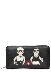 Dolce And Gabbana Leather Zip Around Wallet With Patch Of The Designers Black