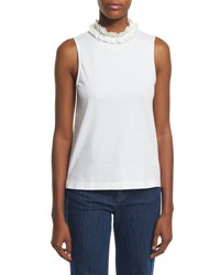 See By Chloe Sleeveless Cotton Ruffle Collar Top White
