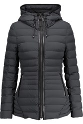 Mackage Leather Trimmed Quilted Shell Hooded Coat Charcoal