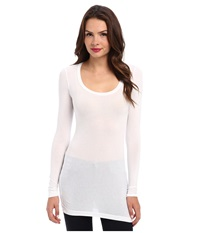 Splendid Stretch Sheer Layers Tunic White Women's Blouse
