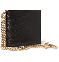 Alexander Mcqueen Embossed Leather Billfold Wallet With Gold Chain Black