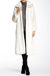 Donna Salyers' Fabulous Furs Couture Collar Full Length Faux Iced Mink Coat White