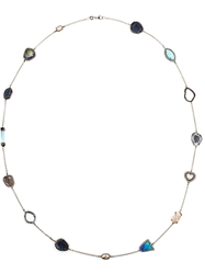 Kimberly Mcdonald Geode And Diamond 18Kt White Gold 'Gracie' Chain Necklace Multicolour