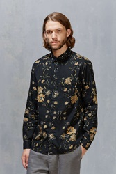 Your Neighbors Ornate Floral Button Down Shirt Black