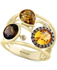 Effy Sienna By Multi Gemstone 3 1 2 Ct. T.W. And Diamond 1 6 Ct. T.W. Openwork Statement Ring In 14K Gold Yellow Gold