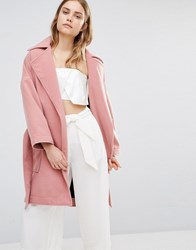 House Of Sunny Oversized Smart Wrap Coat Lust Pink