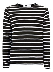 Topman Black And White Stripe Ribbed Textured Jumper