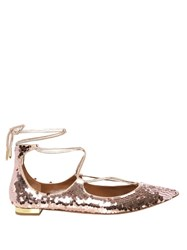 Aquazzura Christy Sequinned Flats Light Pink