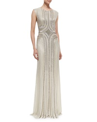 Jenny Packham Sleeveless Round Neck Sequin Gown Fawn