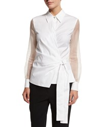 Escada Sheer Sleeve Wrap Blouse White