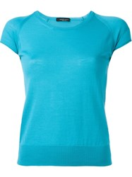 Roberto Collina Shortsleeved Fine Knit Top Blue