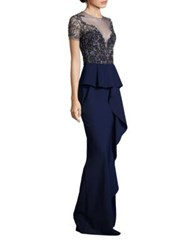 Marchesa Beaded Embroidered Peplum Gown Navy