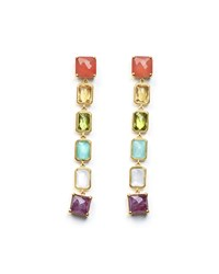 Ippolita 18K Rock Candy Extra Long 6 Stone Earrings In Summer Rainbow Gold