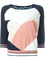 Twin Set Abstract Print Embellished Neck T Shirt Multicolour
