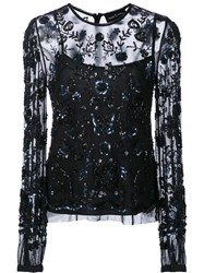 Needle And Thread Sequined Lace Overlay Blouse Black
