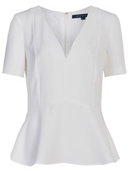 French Connection Arrow Crepe V Neck Top Winter White