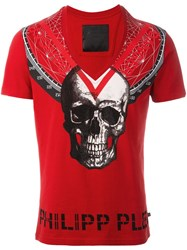 Philipp Plein 'Triangles' T Shirt Red