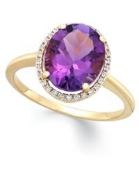 Macy's Amethyst 3 Ct. T.W. And Diamond 1 8 Ct. T.W. Ring In 14K Yellow Gold Purple