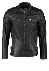 Jack And Jones Jack And Jones Jjprqubic Slim Fit Leather Jacket Black