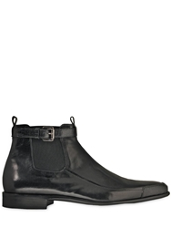 Cesare Paciotti Ostrich And Calf Leather Beatle Boots Black