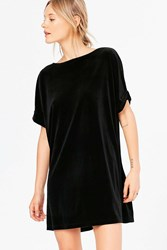 Silence And Noise Velvet Boat Neck Mini Dress Black