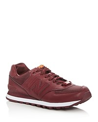 New Balance 574 Flight Jacket Lace Up Sneakers Burgundy