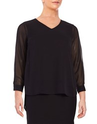 Vince Camuto Plus Hi Lo Semi Sheer Long Sleeve Top Rich Black