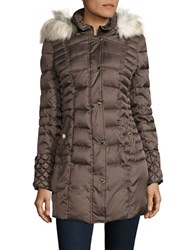 Betsey Johnson Faux Fur Trimmed Puffer Coat Taupe